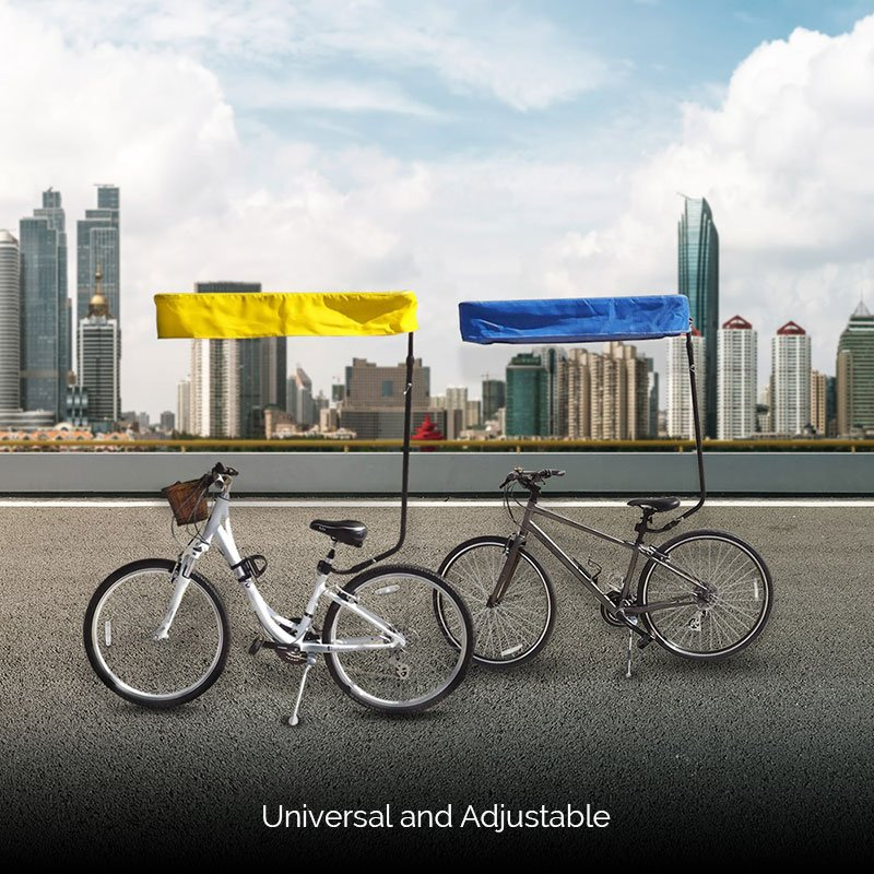 Blue and Yellow Bicycle Sunshade